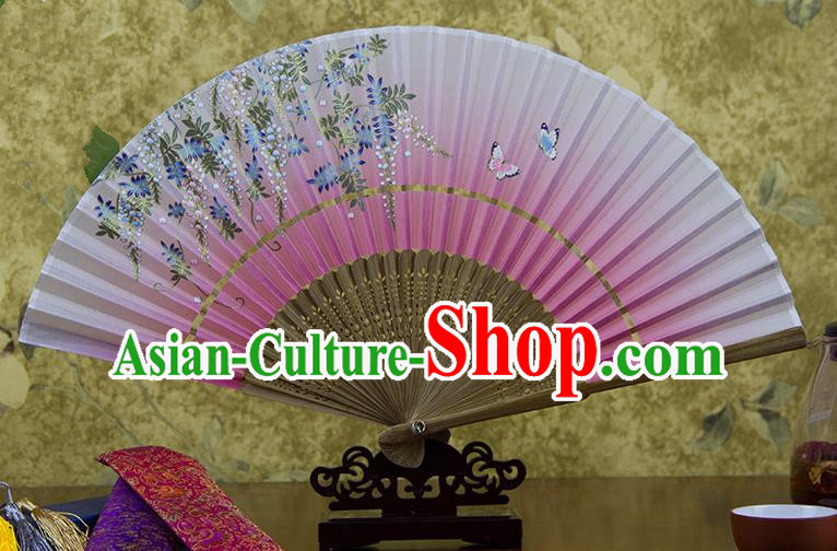 Traditional Chinese Handmade Crafts Hand Painting Butterfly Flowers Folding Fan, China Classical Pink Sensu Silk Fan Hanfu Fans for Women