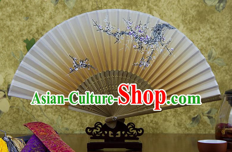 Traditional Chinese Handmade Crafts Hand Painting Flowers Folding Fan, China Classical Oriental Cherry Sensu Yellow Silk Fan Hanfu Fans for Women