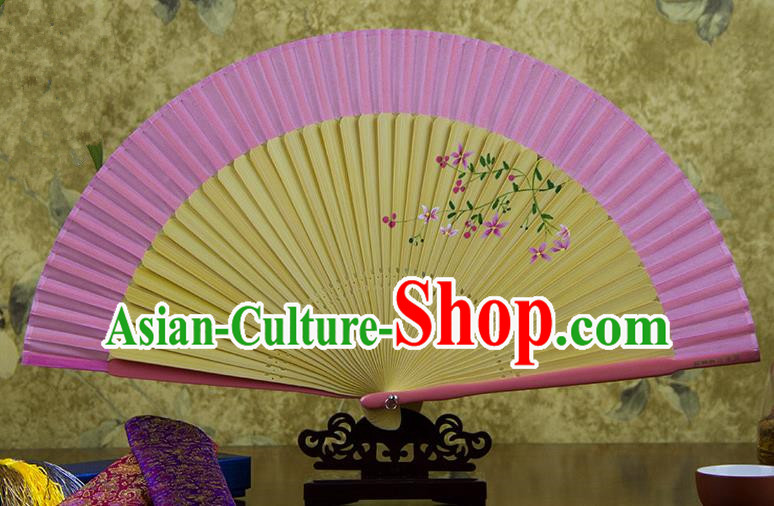 Traditional Chinese Handmade Crafts Hand Painting Flowers Folding Fan, China Classical Pink Sensu Silk Fan Hanfu Fans for Women