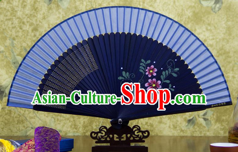 Traditional Chinese Handmade Crafts Hand Painting Flowers Folding Fan, China Classical Blue Sensu Silk Fan Hanfu Fans for Women