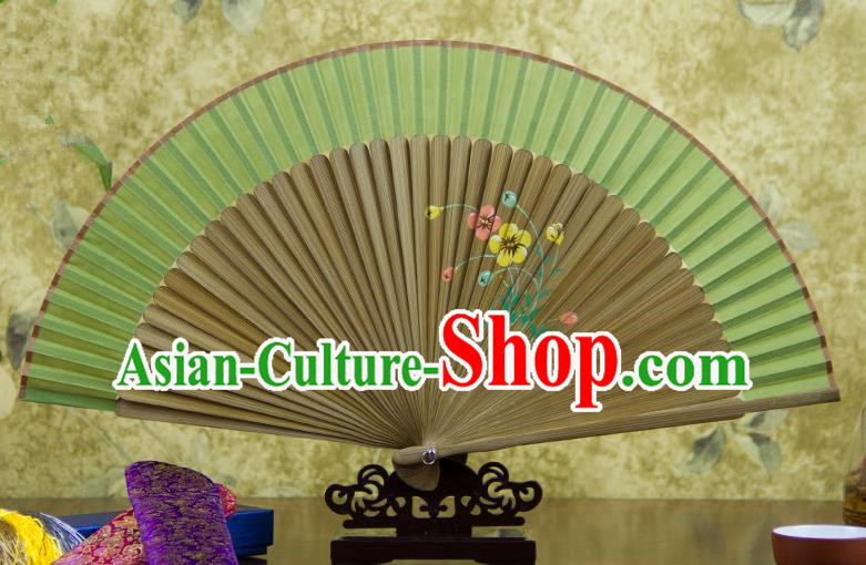 Traditional Chinese Handmade Crafts Hand Painting Flowers Folding Fan, China Classical Green Sensu Silk Fan Hanfu Fans for Women
