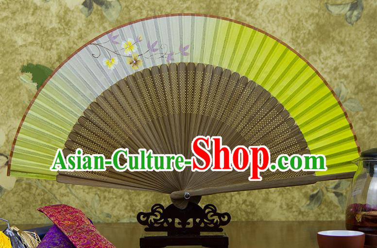 Traditional Chinese Handmade Crafts Hand Painting Flowers Folding Fan, China Classical Light Yellow Sensu Silk Fan Hanfu Fans for Women