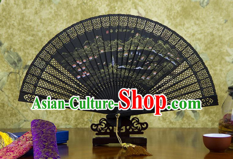 Traditional Chinese Handmade Crafts Ebomy Folding Fan, China Classical Hand Painting West Lake Full Scenery Sensu Hollow Out Fan Hanfu Fans for Women