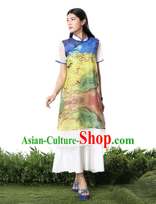 Traditional Chinese Costume Elegant Hanfu Printing Chiffon Dress, China Tang Suit Plated Buttons Cheongsam Qipao Dress Clothing for Women
