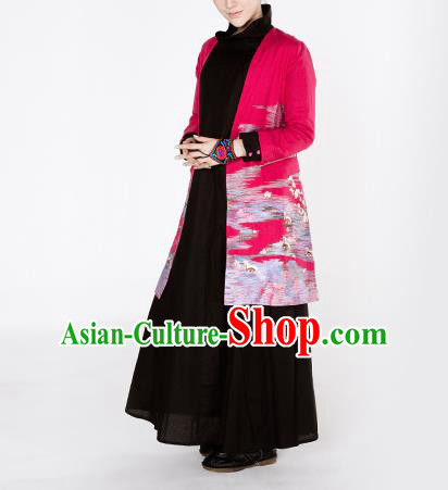 Traditional Chinese Costume Elegant Hanfu Embroidered Coat, China Tang Suit Rosy Dust Coat Cardigan Clothing for Women