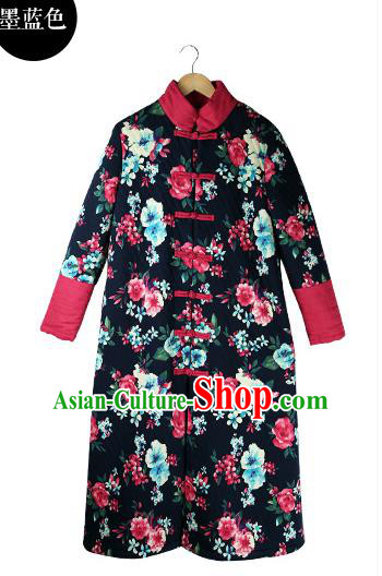 Traditional Chinese Costume Elegant Hanfu Embroidered Flowers Coat, China Tang Suit Plated Buttons Navy Dust Coat Clothing for Women