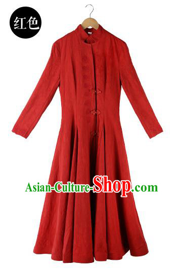 Traditional Chinese Costume Elegant Hanfu Dress, China Tang Suit Plated Buttons Cheongsam Qipao Red Dress Clothing for Women