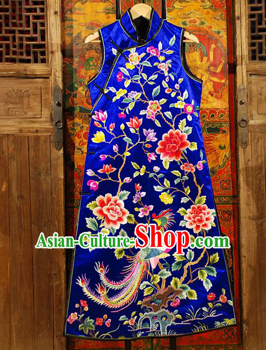 Traditional Chinese Costume Elegant Hanfu Embroidery Peony Phoenix Dress, China Tang Suit Plated Buttons Blue Cheongsam Silk Qipao Dress Clothing for Women