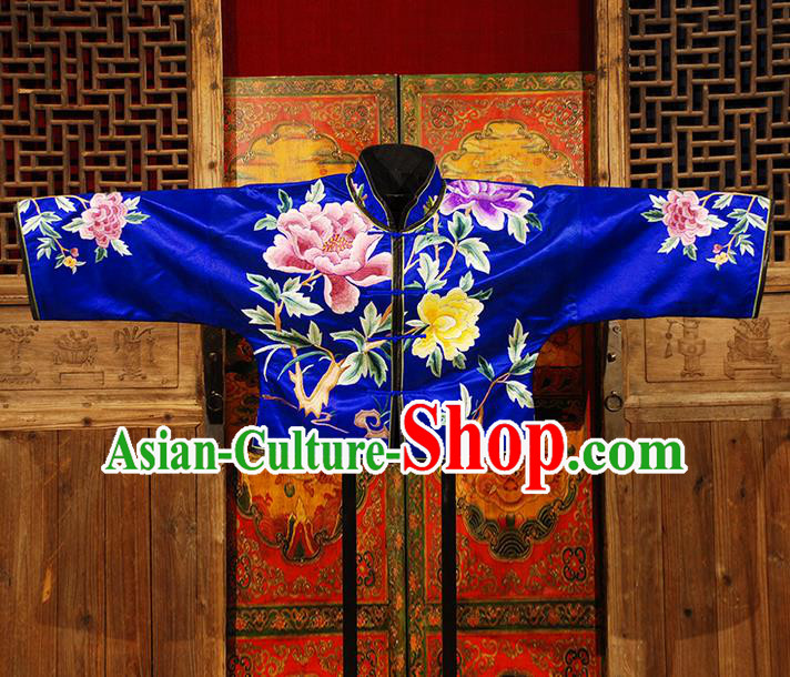 Traditional Chinese Costume Elegant Hanfu Embroidery Peony Coat Blouse, China Tang Suit Plated Buttons Blue Jacket Clothing for Women
