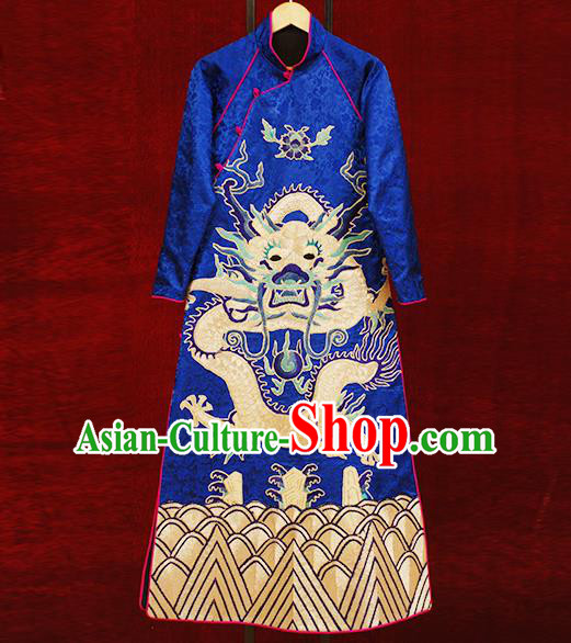 Traditional Chinese Costume Elegant Hanfu Printing Embroidery Dragon Dress, China Tang Suit Plated Buttons Blue Cheongsam Satin Qipao Dress Clothing for Women