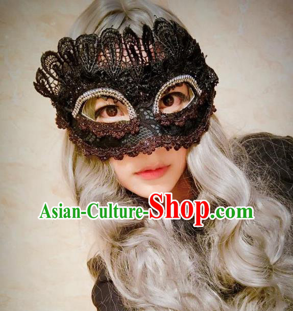 Top Grade Chinese Theatrical Headdress Ornamental Black Lace Mask, Ceremonial Occasions Handmade Halloween Blindfold for Women