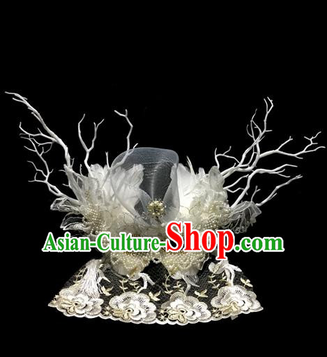 Top Grade Chinese Theatrical Luxury Headdress Ornamental White Beads Mask, Halloween Fancy Ball Ceremonial Occasions Handmade Veil Headpiece for Men