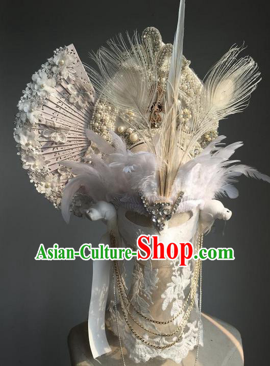 Top Grade Chinese Theatrical Luxury Headdress Ornamental White Headwear and Mask, Halloween Fancy Ball Ceremonial Occasions Handmade Veil Headpiece for Women