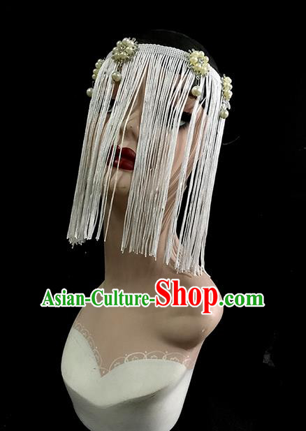 Top Grade Chinese Theatrical Luxury Headdress Ornamental Tassel Mask, Halloween Fancy Ball Ceremonial Occasions Handmade Bride Face Mask for Women