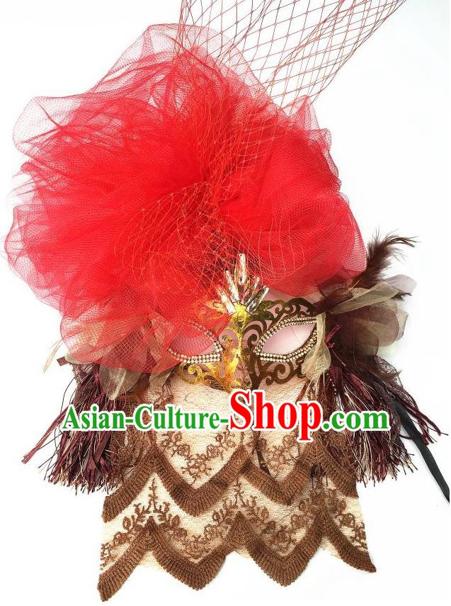 Top Grade Chinese Theatrical Luxury Headdress Ornamental Red Lace Mask, Halloween Fancy Ball Ceremonial Occasions Handmade Veil Face Mask for Women