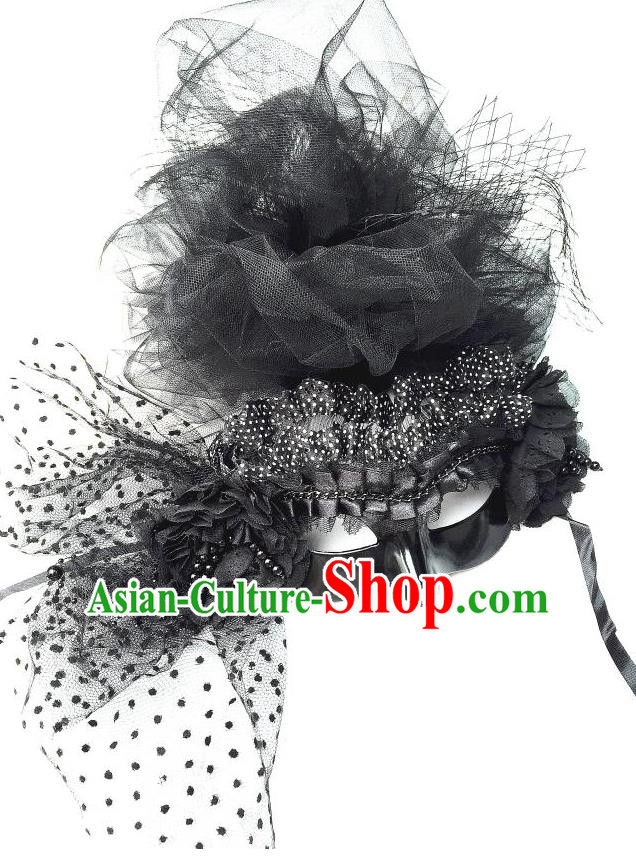 Top Grade Chinese Theatrical Luxury Headdress Ornamental Lace Mask, Halloween Fancy Ball Ceremonial Occasions Handmade Black Veil Face Mask for Women