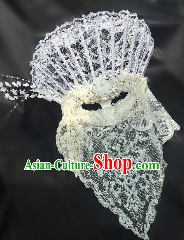 Top Grade Chinese Theatrical Luxury Headdress Ornamental White Lace Mask, Halloween Fancy Ball Asian Headpieces Model Show Headwear for Women