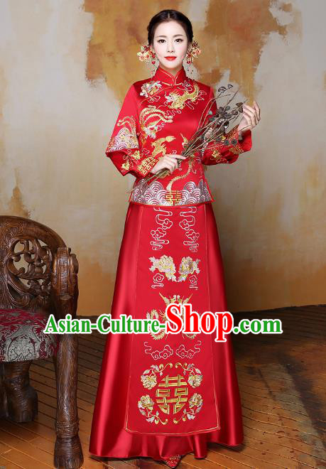 Traditional Ancient Chinese Wedding Costume Handmade XiuHe Suits Embroidery Phoenix Dress Bride Toast Red Cheongsam, Chinese Style Hanfu Wedding Clothing for Women