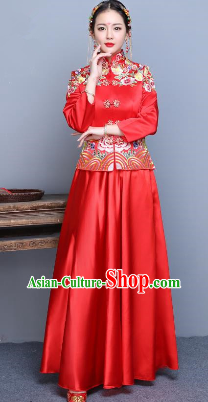 Traditional Ancient Chinese Wedding Costume Handmade XiuHe Suits Embroidery Peony Xi Clothing Bride Toast Cheongsam, Chinese Style Hanfu Wedding Clothing for Women