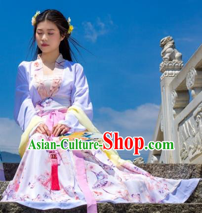 Traditional Chinese Han Dynasty Young Lady Costume, China Ancient Hanfu Dress Princess Peri Embroidery Clothing for Women