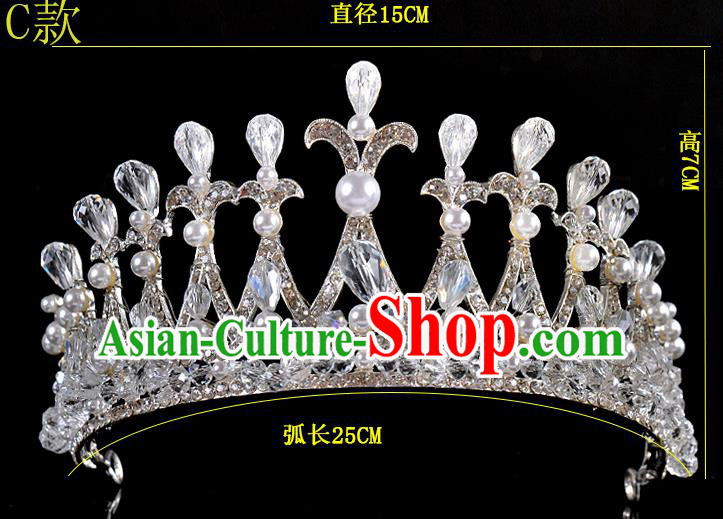 Top Grade Handmade Chinese Classical Hair Accessories Baroque Style Crystal Pearls Princess Wedding Royal Crown, Bride Hair Sticks Hair Jewellery Hair Coronet for Women