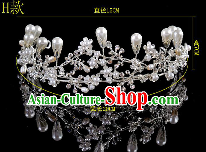 Top Grade Handmade Chinese Classical Hair Accessories Baroque Style Pearls Princess Wedding Royal Crown, Bride Hair Sticks Hair Jewellery Hair Coronet for Women
