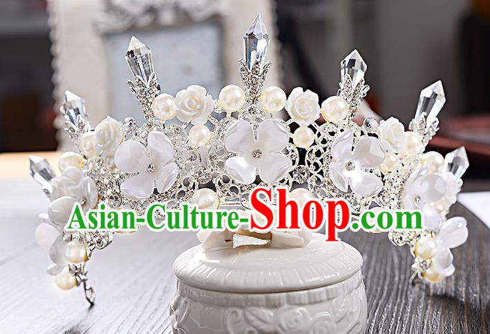 Top Grade Handmade Chinese Classical Hair Accessories Baroque Style Crystal Pearls Flower Wedding Royal Crown, Bride Princess Hair Jewellery Hair Coronet for Women