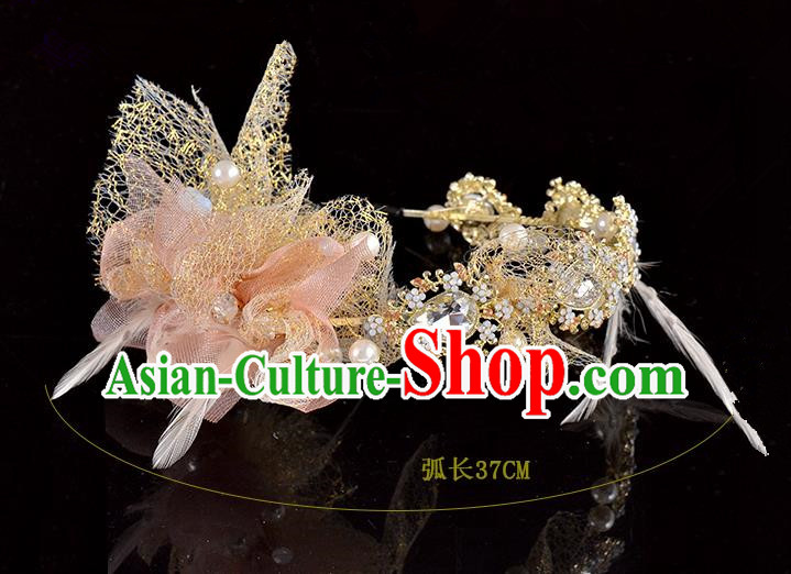 Top Grade Handmade Hair Accessories Baroque Style Palace Princess Wedding Crystal Pink Silk Vintage Royal Crown, Bride Hair Kether Jewellery Imperial Crown for Women