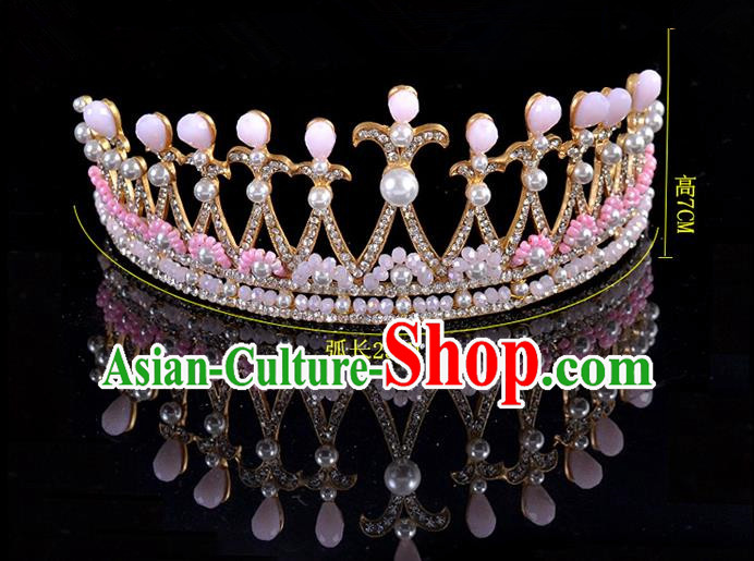Top Grade Handmade Hair Accessories Baroque Style Palace Princess Wedding Crystal Pearls Vintage Royal Crown, Bride Hair Kether Jewellery Imperial Crown for Women