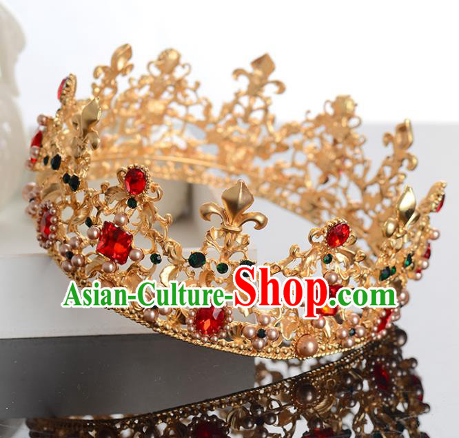 Top Grade Handmade Hair Accessories Baroque Style Palace Princess Wedding Red Crystal Vintage Golden Royal Crown, Bride Hair Kether Jewellery Imperial Crown for Women