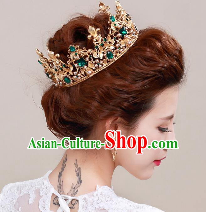 Top Grade Handmade Hair Accessories Baroque Style Palace Princess Wedding Green Crystal Vintage Golden Royal Crown, Bride Hair Kether Jewellery Imperial Crown for Women