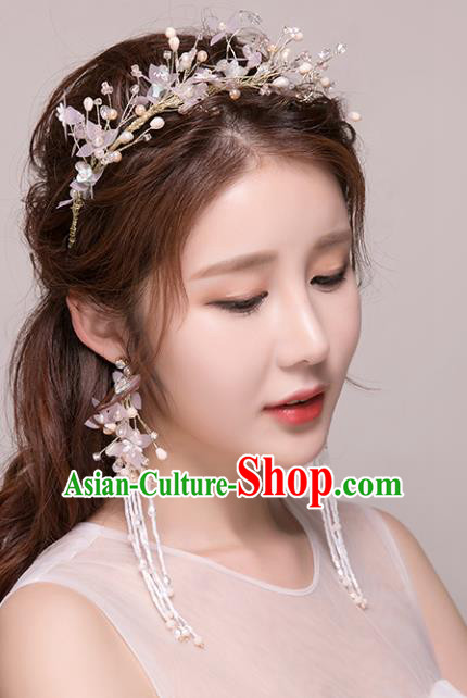 Top Grade Handmade Hair Accessories Baroque Style Wedding Princess Full Dress Pink Silk Flower Crystal Royal Crown, Bride Toast Hair Kether Jewellery Imperial Crown for Women