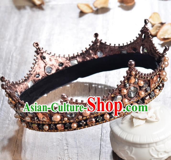 Top Grade Handmade Hair Accessories Baroque Style Palace Princess Wedding Crystal Royal Crown, Bride Hair Kether Jewellery Imperial Crown for Women