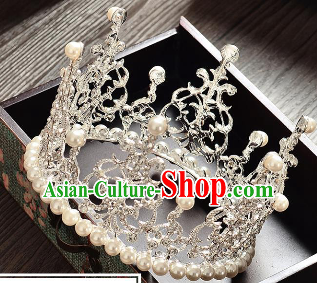 Top Grade Handmade Hair Accessories Baroque Style Palace Princess Wedding Pearls Vintage Round Royal Crown, Bride Hair Kether Jewellery Imperial Crown for Women