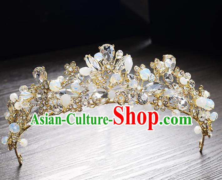 Top Grade Handmade Hair Accessories Baroque Style Princess Crystal Opal Vintage Royal Crown, Bride Wedding Hair Kether Jewellery Imperial Crown for Women