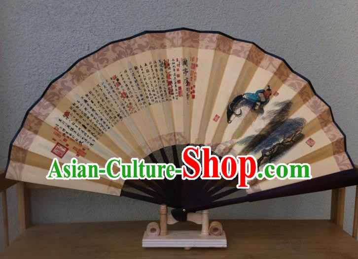 Traditional Chinese Crafts Silk Folding Fan China Sensu Printing Cowboy Accordion Paper Fan for Men
