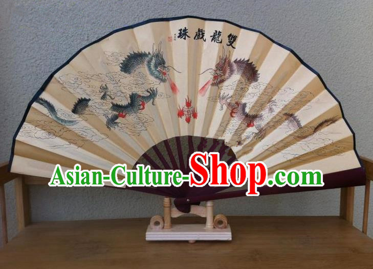 Traditional Chinese Crafts Silk Folding Fan China Sensu Printing Dragons Accordion Paper Fan for Men