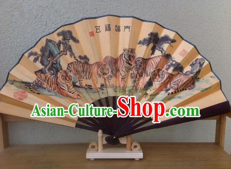 Traditional Chinese Crafts Silk Folding Fan China Sensu Printing Five Tigers Accordion Fan for Men