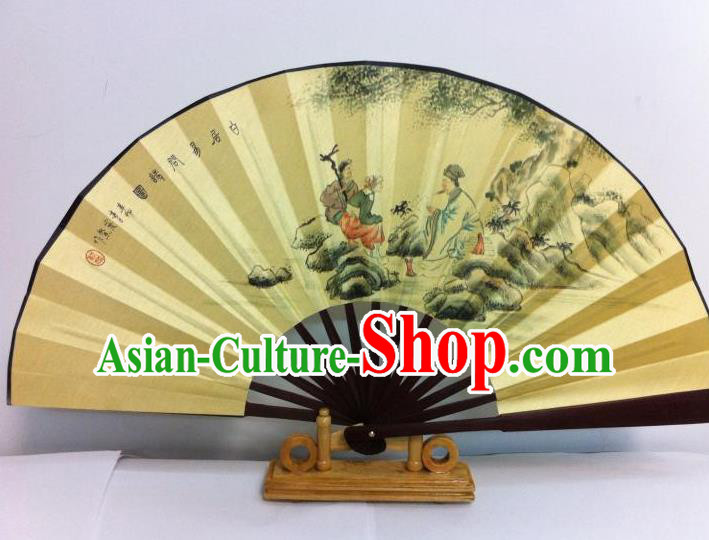 Traditional Chinese Crafts Peking Opera Folding Fan China Sensu Printing Chinese Poet Silk Fan for Men