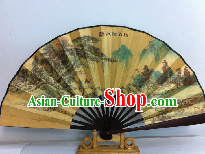 Traditional Chinese Crafts Peking Opera Folding Fan China Sensu Printing Chinese Pine Tree Poet Silk Fan for Men
