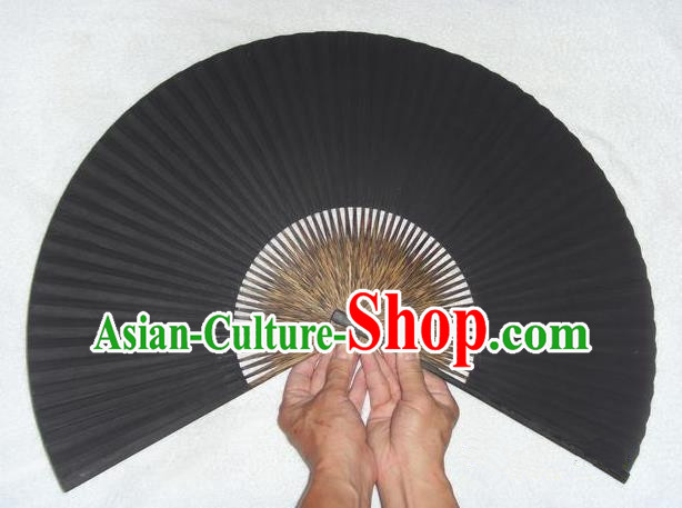 Traditional Chinese Crafts Peking Opera Folding Fan China Sensu Black Paper Paper Fan