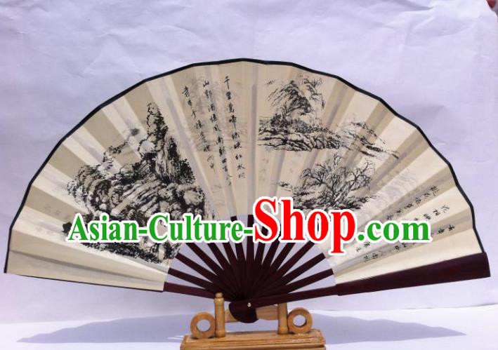 Traditional Chinese Crafts Peking Opera Folding Fan China Sensu Hand Ink Painting Xuan Paper Fan