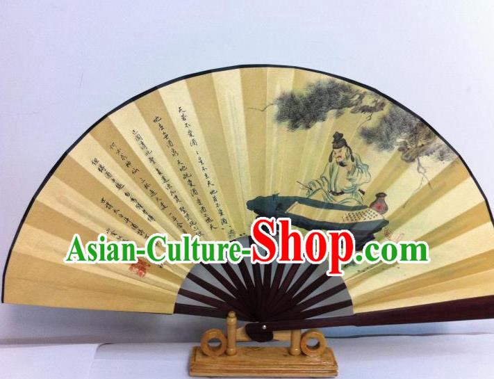 Traditional Chinese Crafts Peking Opera Folding Fan China Sensu Printing Chinese Poet Li bai Drunken Silk Fan for Men
