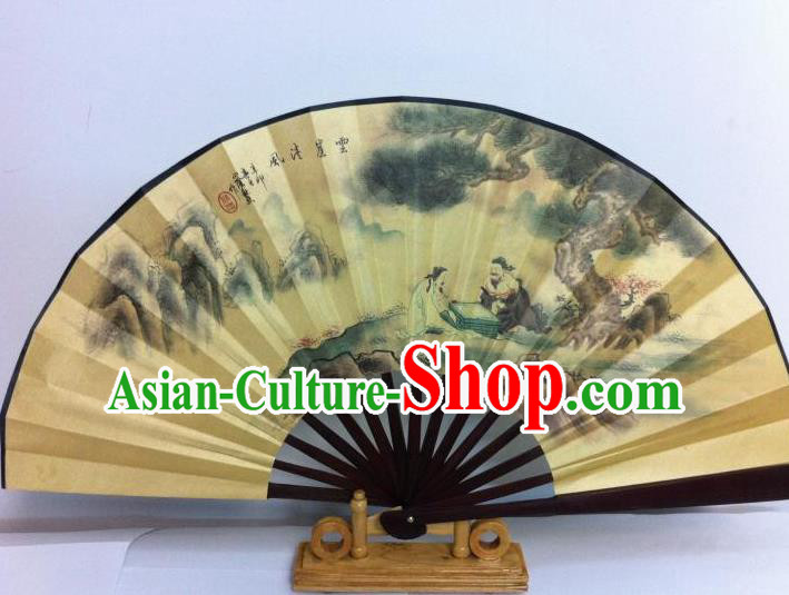 Traditional Chinese Crafts Peking Opera Folding Fan China Sensu Printing Chinese Poet Playing Chess Silk Fan for Men