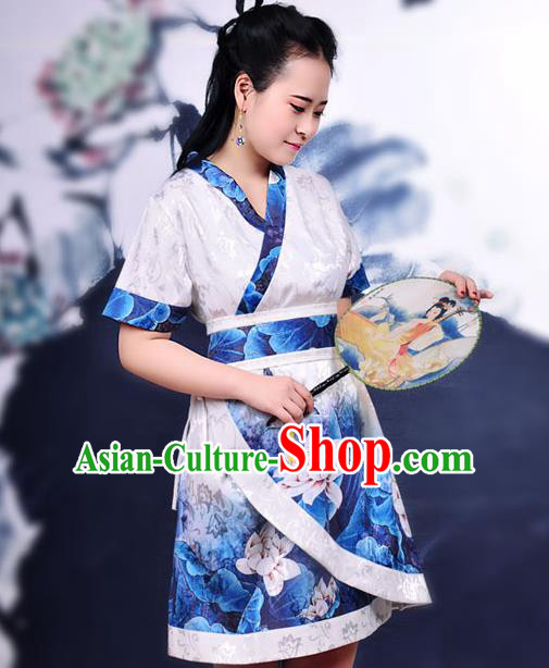 Traditional Ancient Chinese Young Women Cheongsam Ink Painting Lotus Dress, Republic of China Tangsuit Brocade Cheongsam for Women