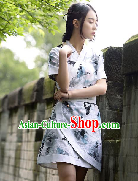 Traditional Ancient Chinese Young Women Cheongsam Ink Painting Dress, Republic of China Tangsuit Brocade Cheongsam for Women