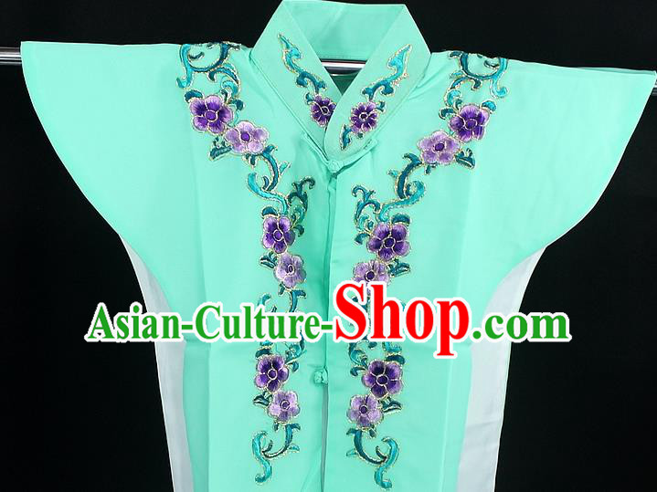 Traditional China Beijing Opera Young Lady Costume Green Collar Protectors, Ancient Chinese Peking Opera Embroidery Clothing