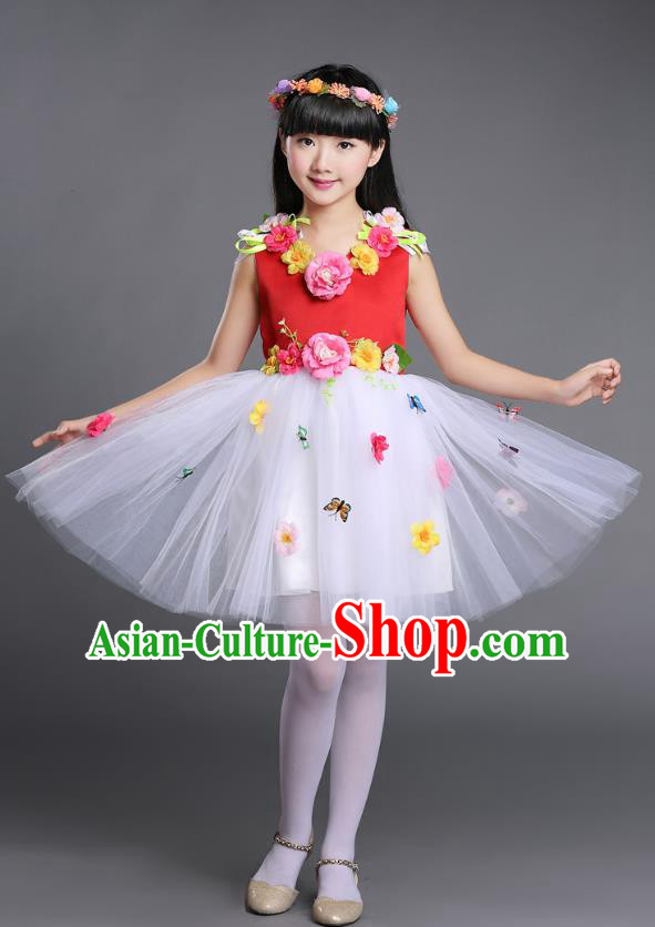 Top Grade Chinese Compere Professional Performance Catwalks Costume, Children Princess Bubble Veil Full Dress Modern Dance Red Dress for Girls Kids