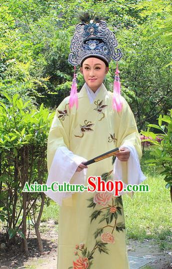 Traditional China Beijing Opera Young Men Costume and Hat, Ancient Chinese Peking Opera Niche Embroidery Clothing