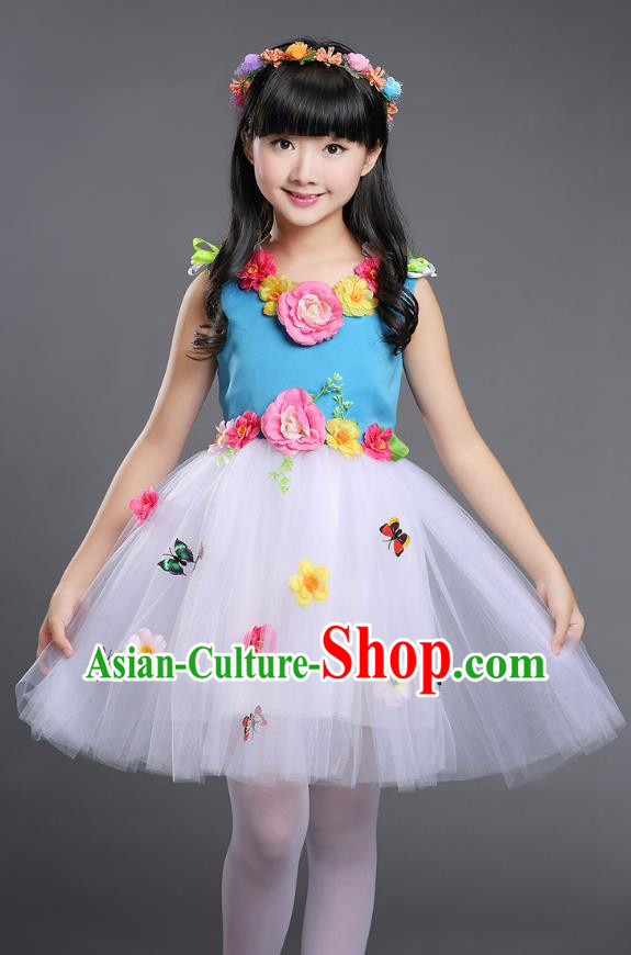 Top Grade Chinese Compere Professional Performance Catwalks Costume, Children Princess Bubble Veil Full Dress Modern Dance Blue Dress for Girls Kids